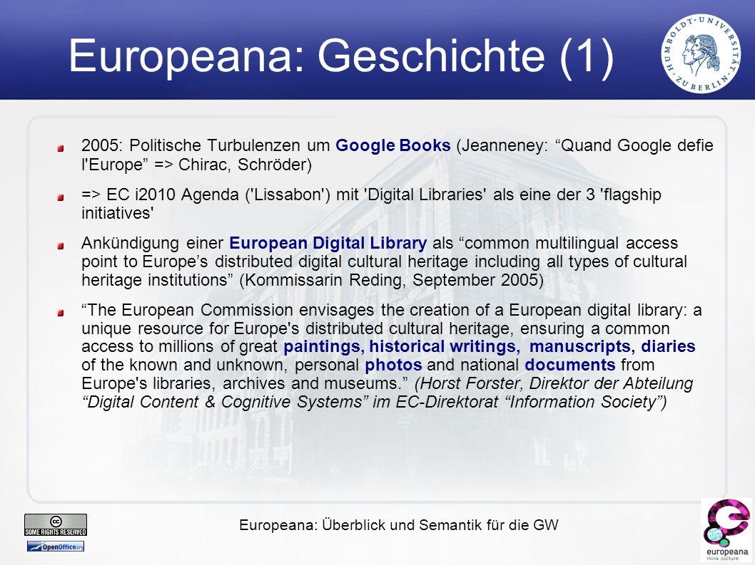 Europeana: Überblick und Semantik für die GW Ein Modell für die Aggregationen von WWW-Resourcen OAI-ORE (Object Reuse and Exchange)