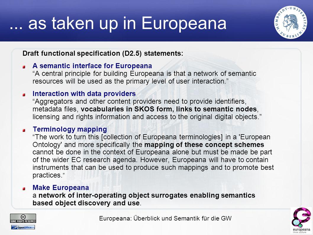 Europeana: Überblick und Semantik für die GW...