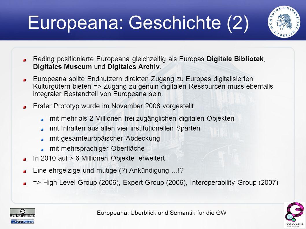 Europeana: Überblick und Semantik für die GW Europeana: Geschichte (2) Reding positionierte Europeana gleichzeitig als Europas Digitale Bibliotek, Digitales Museum und Digitales Archiv.