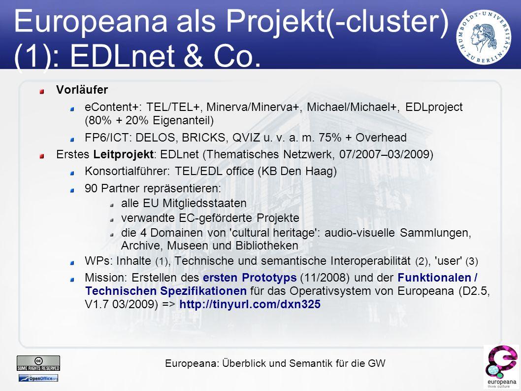 Europeana: Überblick und Semantik für die GW Surrogate, Metadaten und Semantische Netze (2)
