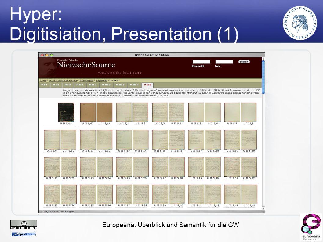 Europeana: Überblick und Semantik für die GW Hyper: Digitisiation, Presentation (1)