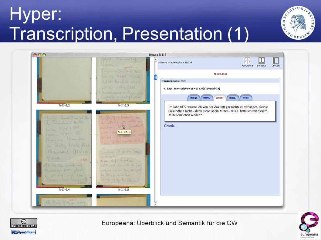 Europeana: Überblick und Semantik für die GW Hyper: Transcription, Presentation (1)