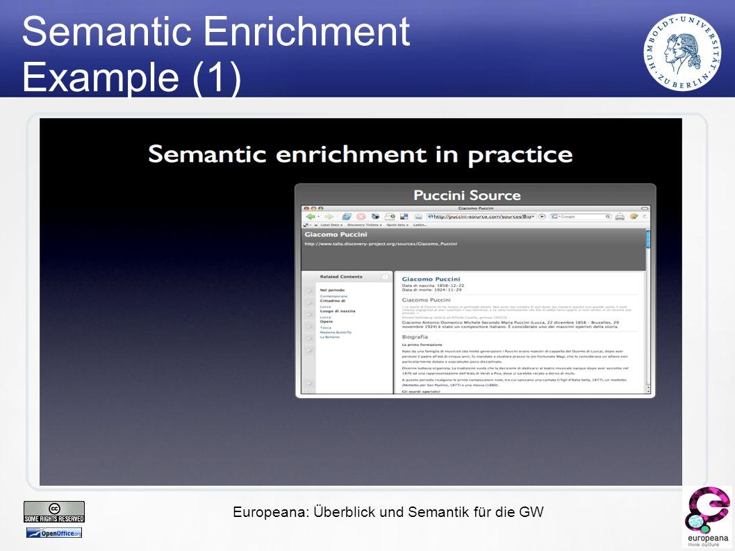 Europeana: Überblick und Semantik für die GW Semantic Enrichment Example (1)