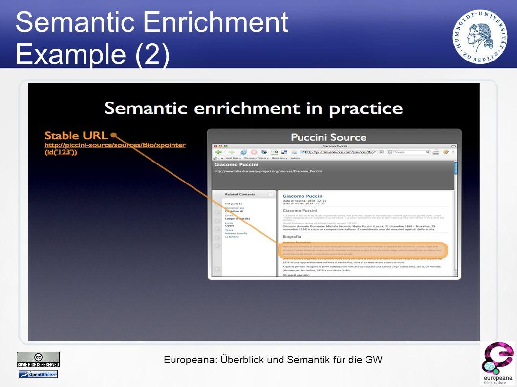Europeana: Überblick und Semantik für die GW Semantic Enrichment Example (2)
