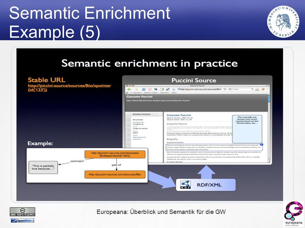 Europeana: Überblick und Semantik für die GW Semantic Enrichment Example (5)