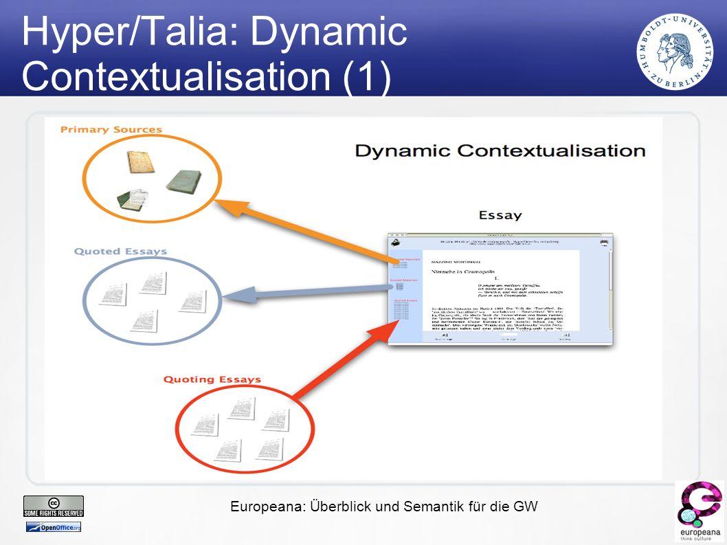 Europeana: Überblick und Semantik für die GW Hyper/Talia: Dynamic Contextualisation (1)