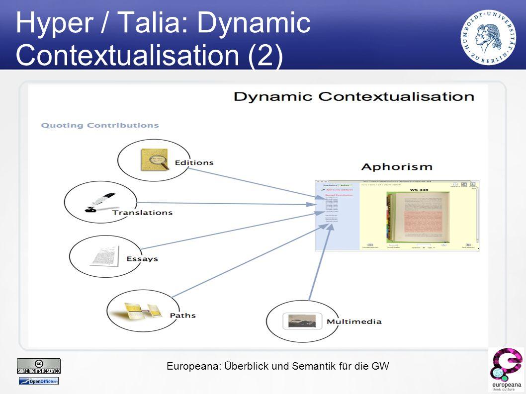 Europeana: Überblick und Semantik für die GW Hyper / Talia: Dynamic Contextualisation (2)