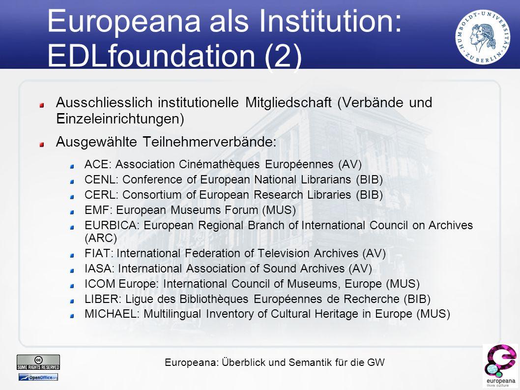 Europeana: Überblick und Semantik für die GW Scholarship in the digital era