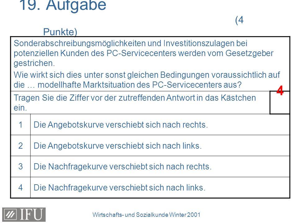 Wirtschafts- und Sozialkunde Winter 2001 19. Aufgabe (4 Punkte) Sonderabschreibungsmöglichkeiten und Investitionszulagen bei potenziellen Kunden des P