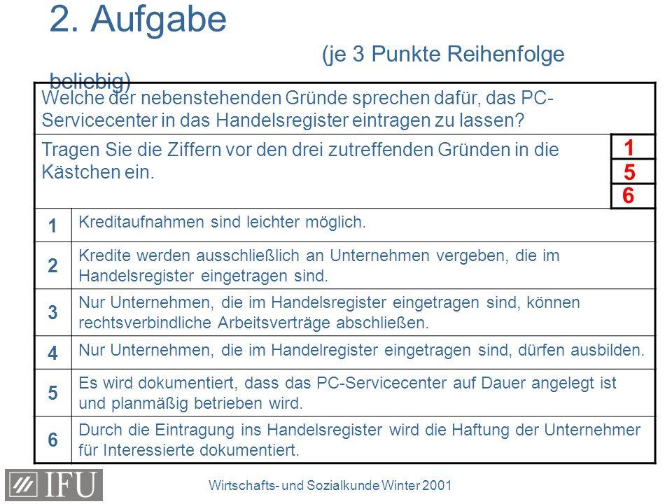 Wirtschafts- und Sozialkunde Winter 2001 3.