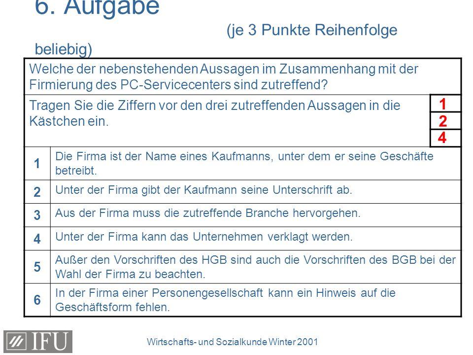 Wirtschafts- und Sozialkunde Winter 2001 7.
