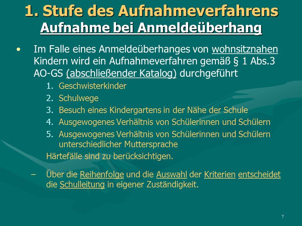 Im Falle eines Anmeldeüberhanges von wohnsitznahen Kindern wird ein Aufnahmeverfahren gemäß § 1 Abs.3 AO-GS (abschließender Katalog) durchgeführt 1.Ge