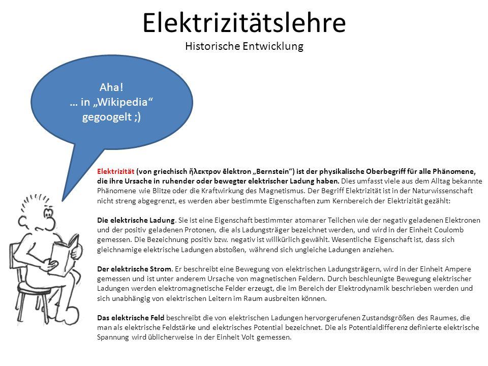 Elektrizitätslehre Historische Entwicklung Aha.