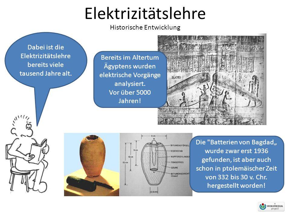 Elektrizitätslehre Historische Entwicklung Dabei ist die Elektrizitätslehre bereits viele tausend Jahre alt.