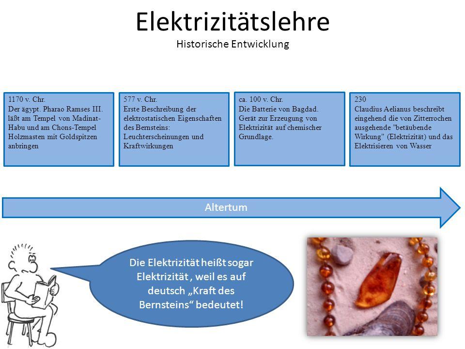 """Elektrizitätslehre Historische Entwicklung Die Elektrizität heißt sogar Elektrizität, weil es auf deutsch """"Kraft des Bernsteins bedeutet."""