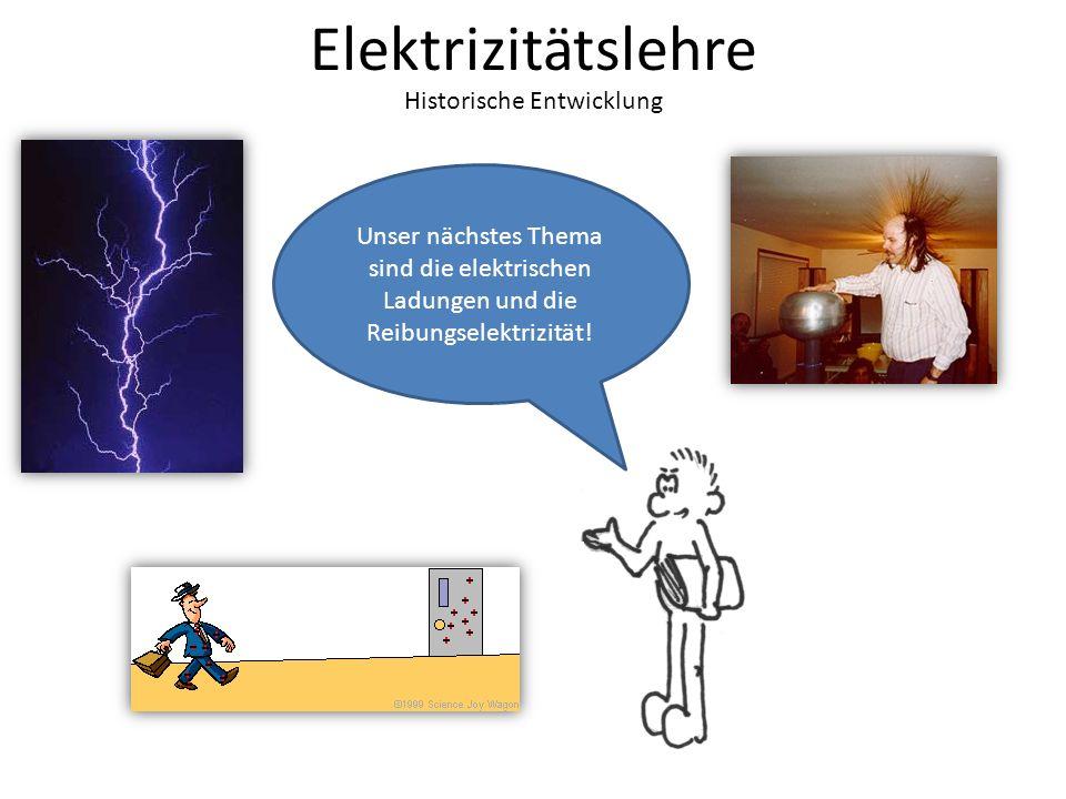 Elektrizitätslehre Historische Entwicklung Unser nächstes Thema sind die elektrischen Ladungen und die Reibungselektrizität!