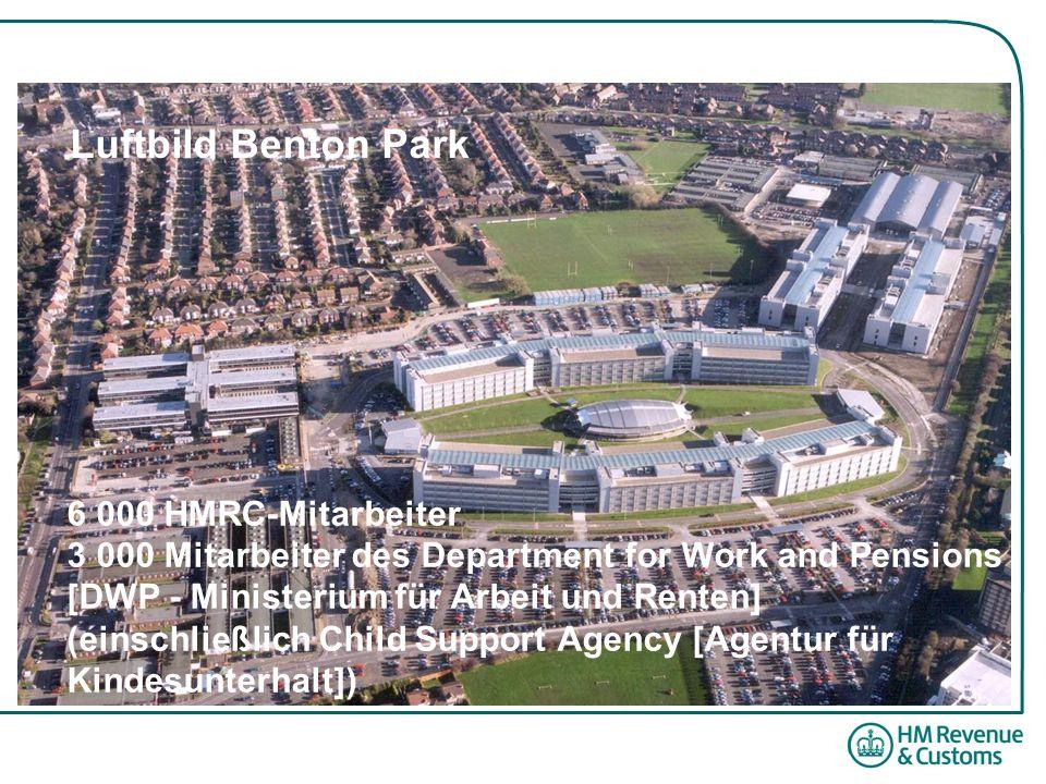 6 000 HMRC-Mitarbeiter 3 000 Mitarbeiter des Department for Work and Pensions [DWP - Ministerium für Arbeit und Renten] (einschließlich Child Support Agency [Agentur für Kindesunterhalt]) Luftbild Benton Park