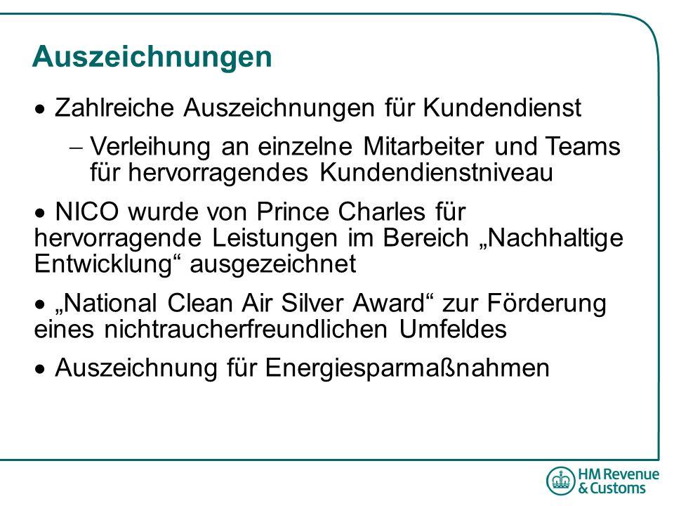 """Auszeichnungen  Zahlreiche Auszeichnungen für Kundendienst  Verleihung an einzelne Mitarbeiter und Teams für hervorragendes Kundendienstniveau  NICO wurde von Prince Charles für hervorragende Leistungen im Bereich """"Nachhaltige Entwicklung ausgezeichnet  """"National Clean Air Silver Award zur Förderung eines nichtraucherfreundlichen Umfeldes  Auszeichnung für Energiesparmaßnahmen"""