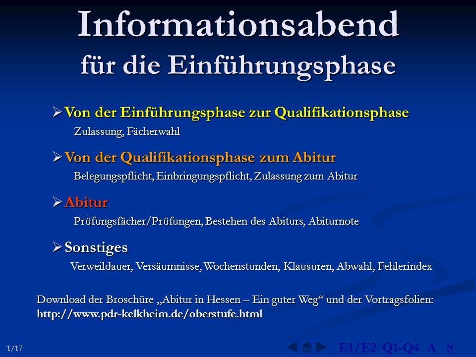 Informationsabend für die Einführungsphase  Von der Einführungsphase zur Qualifikationsphase Zulassung, Fächerwahl  Von der Qualifikationsphase zum