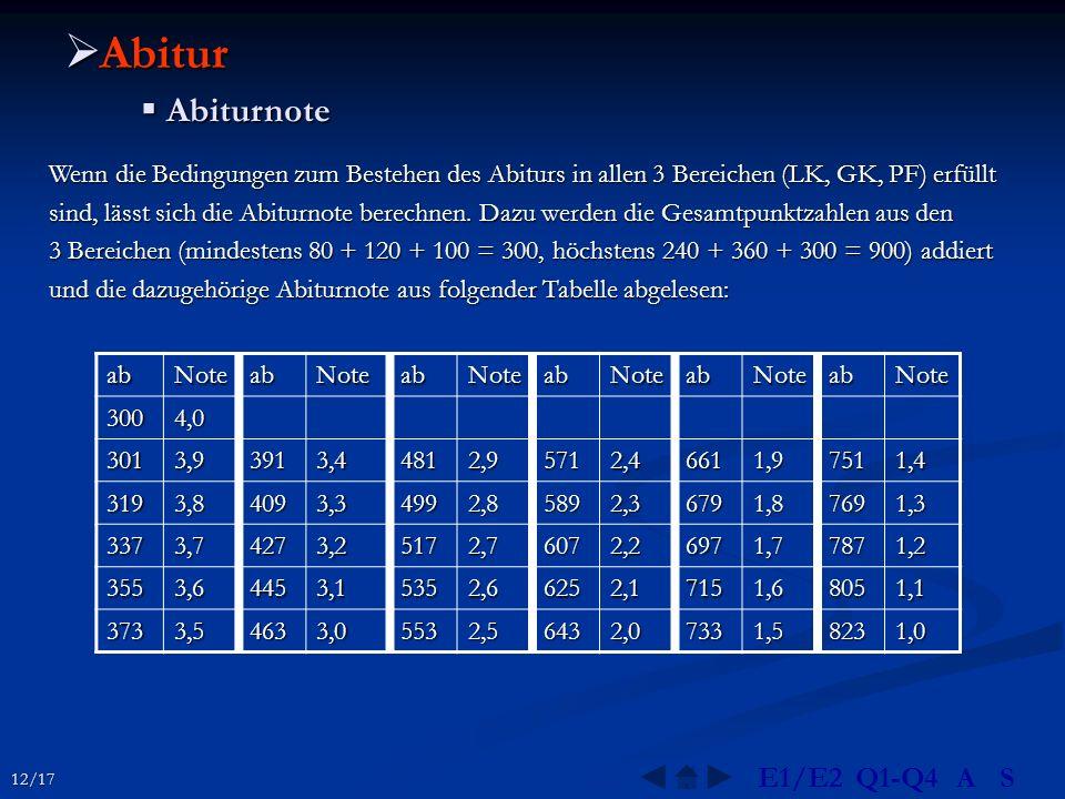  Abitur  Abiturnote Wenn die Bedingungen zum Bestehen des Abiturs in allen 3 Bereichen (LK, GK, PF) erfüllt sind, lässt sich die Abiturnote berechne