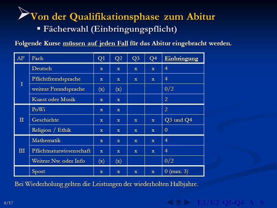  Von der Qualifikationsphase zum Abitur  Fächerwahl (Einbringungspflicht) Folgende Kurse müssen auf jeden Fall für das Abitur eingebracht werden. AF