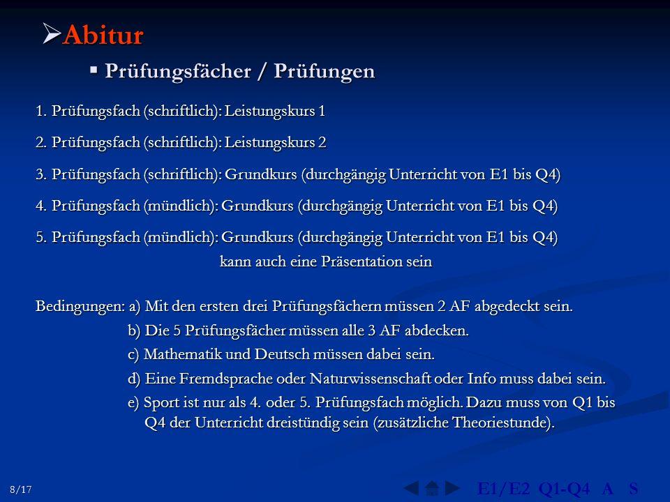  Abitur  Prüfungsfächer / Prüfungen 2. Prüfungsfach (schriftlich): Leistungskurs 2 1. Prüfungsfach (schriftlich): Leistungskurs 1 3. Prüfungsfach (s