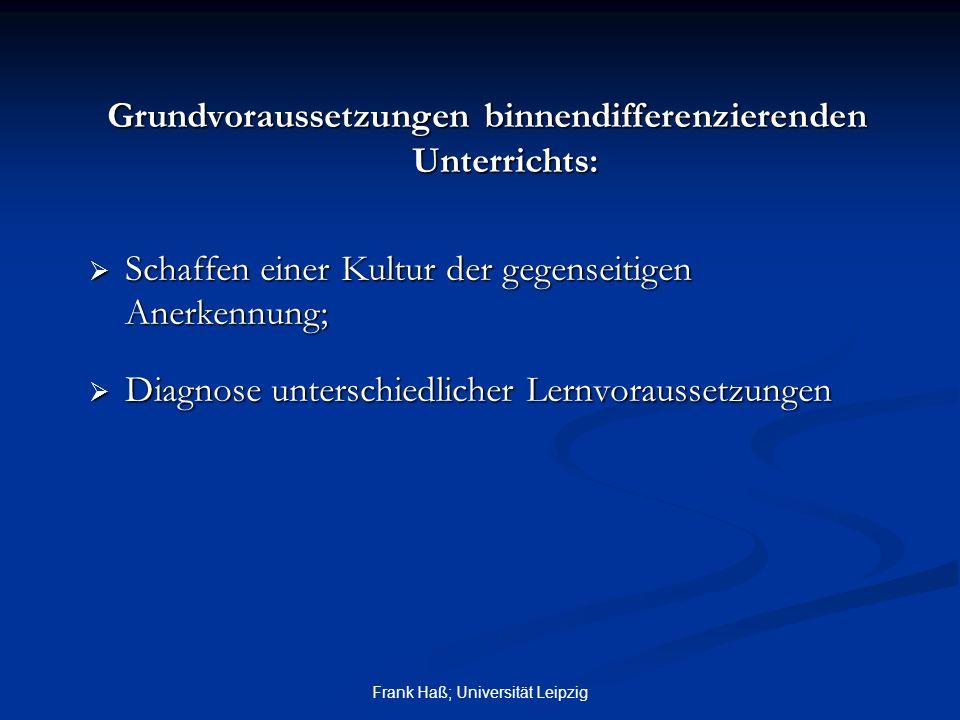 Frank Haß; Universität Leipzig Grundvoraussetzungen binnendifferenzierenden Unterrichts:  Schaffen einer Kultur der gegenseitigen Anerkennung;  Diag
