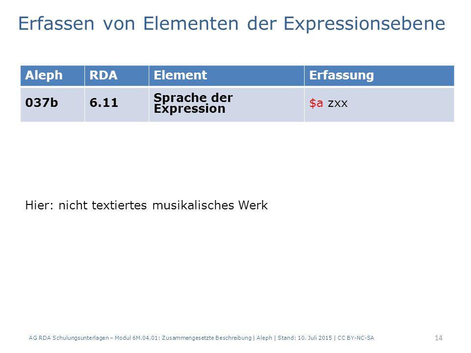 14 AlephRDAElementErfassung 037b6.11 Sprache der Expression $a zxx Erfassen von Elementen der Expressionsebene AG RDA Schulungsunterlagen – Modul 6M.04.01: Zusammengesetzte Beschreibung | Aleph | Stand: 10.