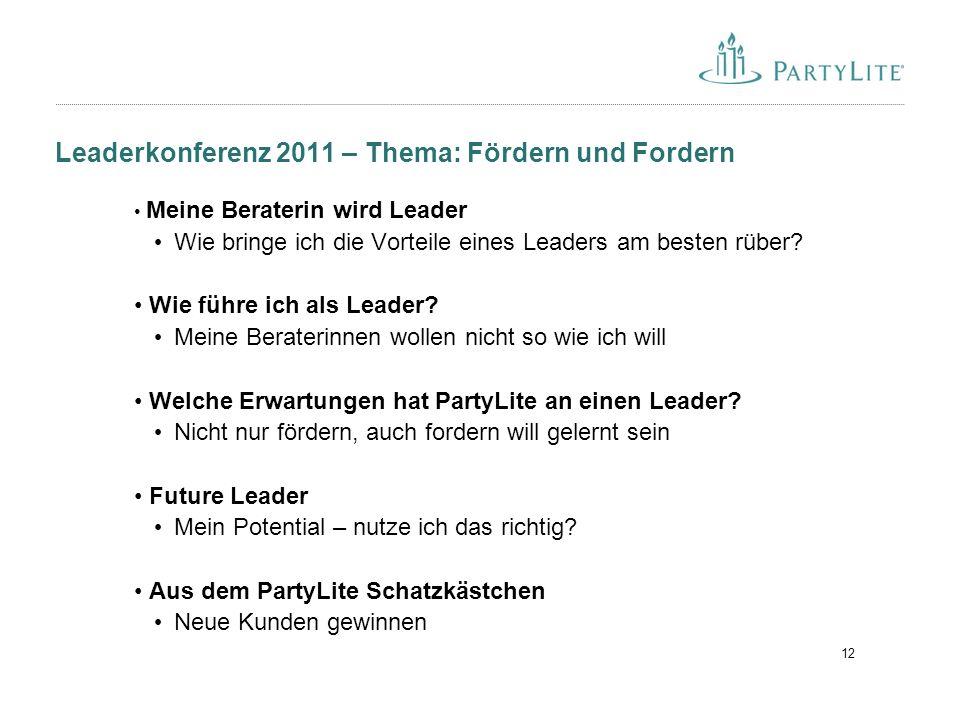 12 Leaderkonferenz 2011 – Thema: Fördern und Fordern Meine Beraterin wird Leader Wie bringe ich die Vorteile eines Leaders am besten rüber.
