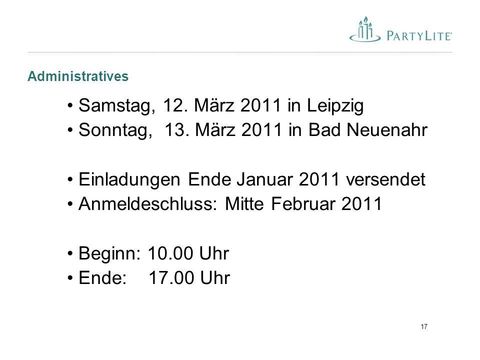 17 Administratives Samstag, 12. März 2011 in Leipzig Sonntag, 13.