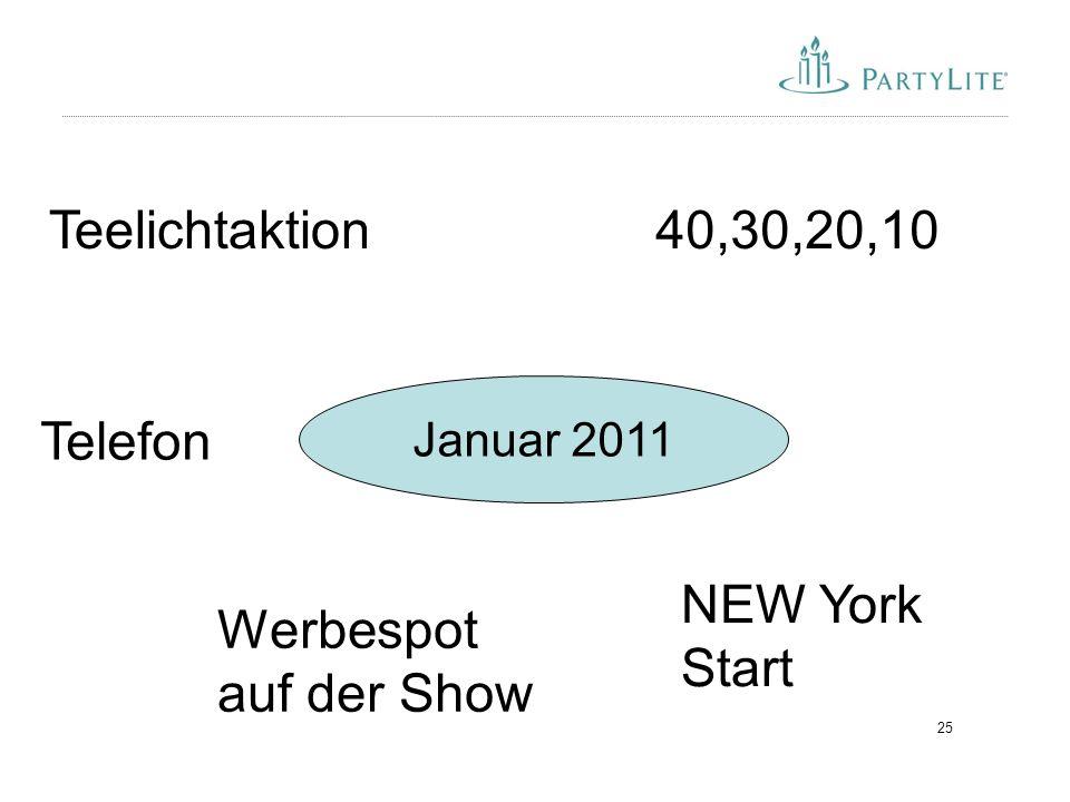 25 Januar 2011 40,30,20,10Teelichtaktion NEW York Start Werbespot auf der Show Telefon