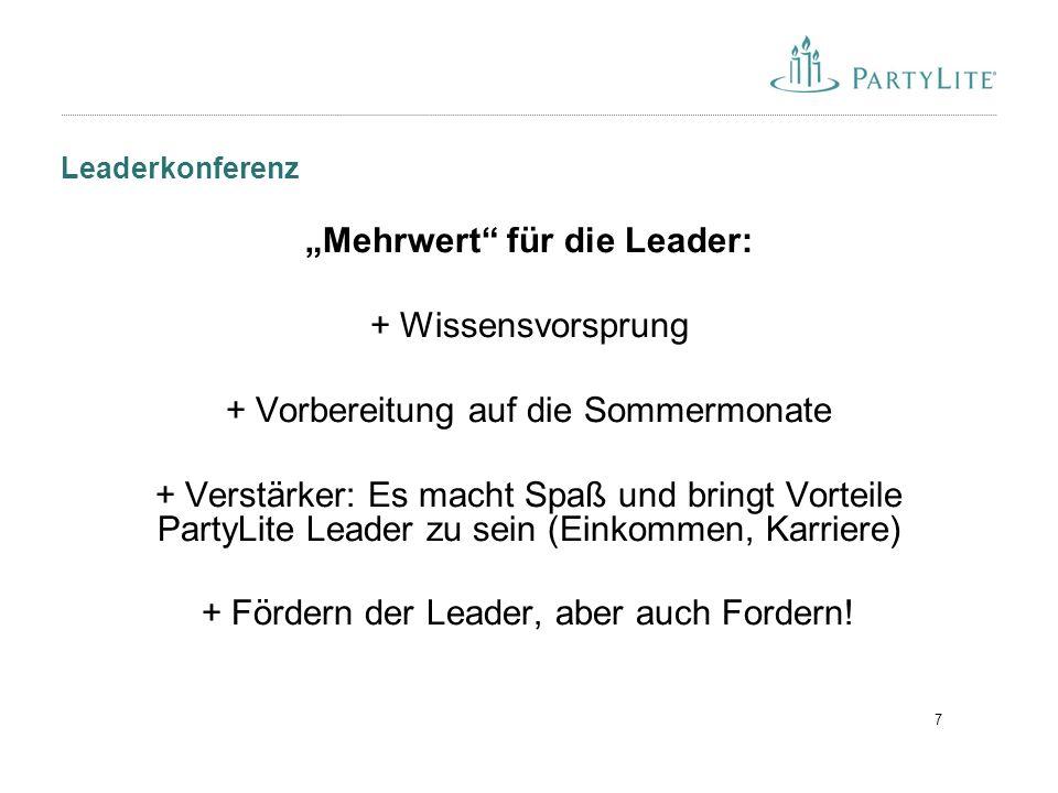 """7 Leaderkonferenz """"Mehrwert für die Leader: + Wissensvorsprung + Vorbereitung auf die Sommermonate + Verstärker: Es macht Spaß und bringt Vorteile PartyLite Leader zu sein (Einkommen, Karriere) + Fördern der Leader, aber auch Fordern!"""