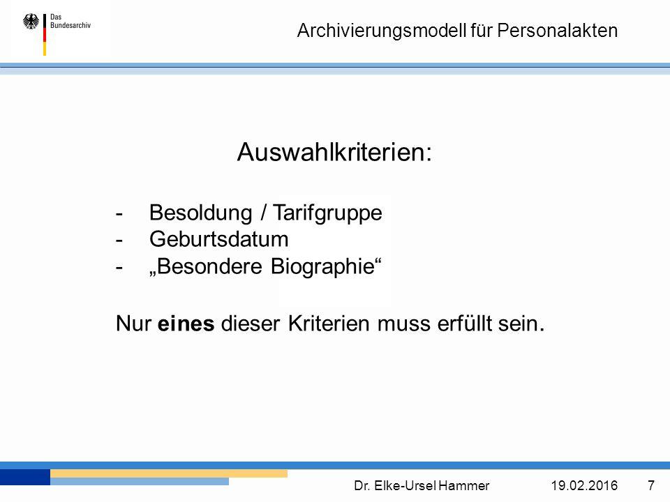 Archivierungsmodell für Personalakten Dr.