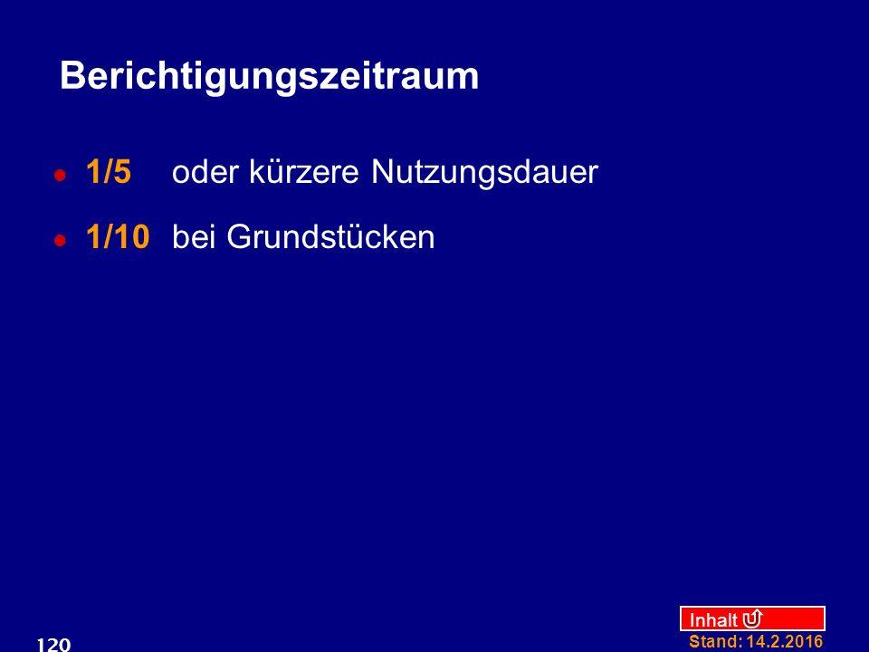 Inhalt Stand: 14.2.2016 120 Berichtigungszeitraum 1/5 oder kürzere Nutzungsdauer 1/10 bei Grundstücken