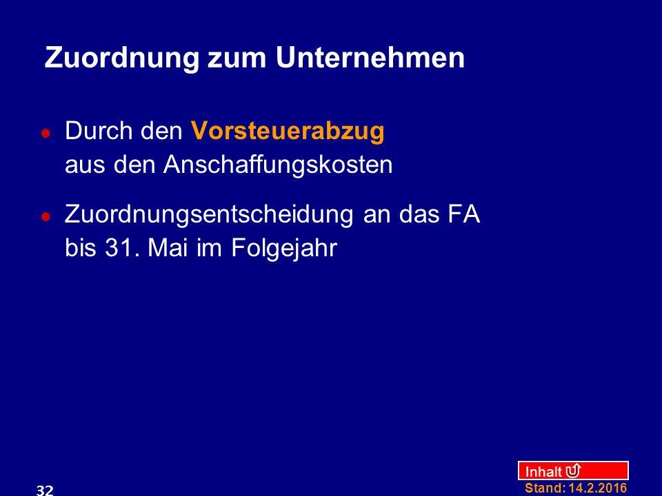 Inhalt Stand: 14.2.2016 32 Zuordnung zum Unternehmen Durch den Vorsteuerabzug aus den Anschaffungskosten Zuordnungsentscheidung an das FA bis 31. Mai