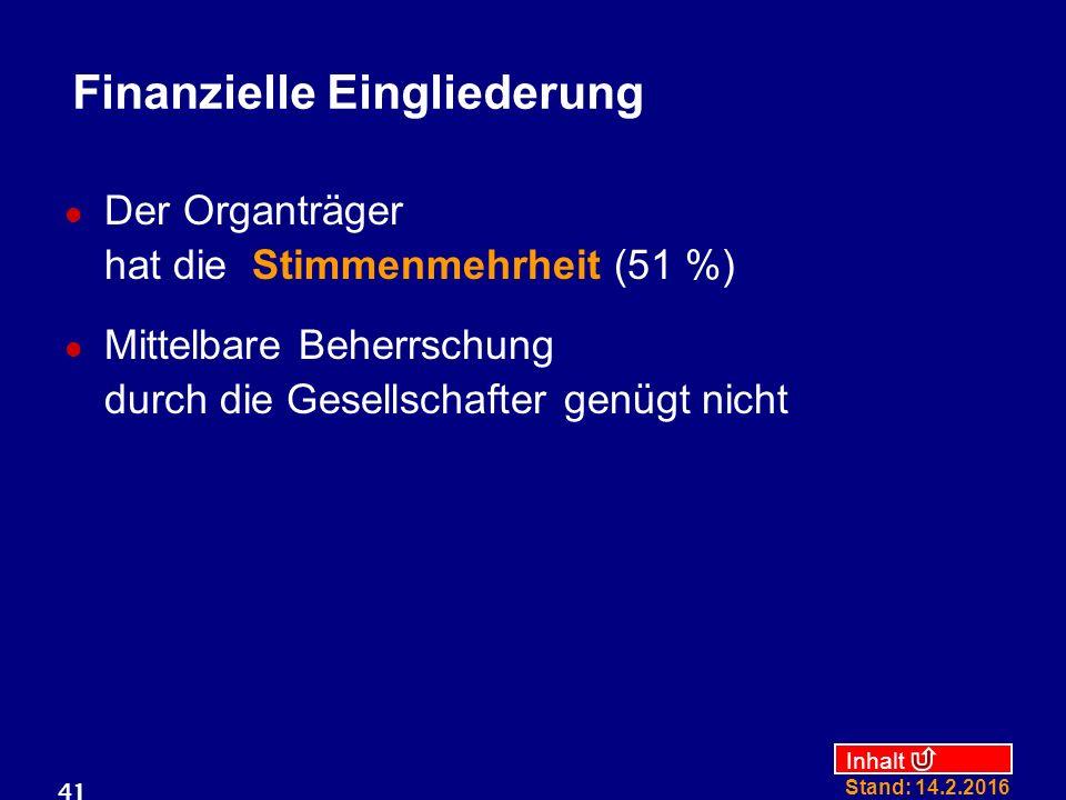 Inhalt Stand: 14.2.2016 41 Finanzielle Eingliederung Der Organträger hat die Stimmenmehrheit (51 %) Mittelbare Beherrschung durch die Gesellschafter g