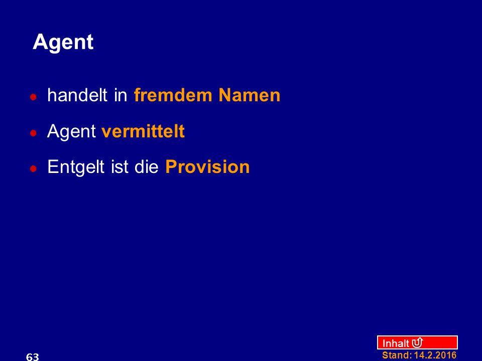 Inhalt Stand: 14.2.2016 63 Agent handelt in fremdem Namen Agent vermittelt Entgelt ist die Provision