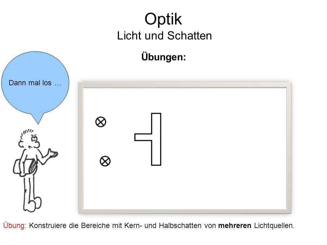 Optik Licht und Schatten Dann mal los … Übungen: Übung: Konstruiere die Bereiche mit Kern- und Halbschatten von mehreren Lichtquellen.