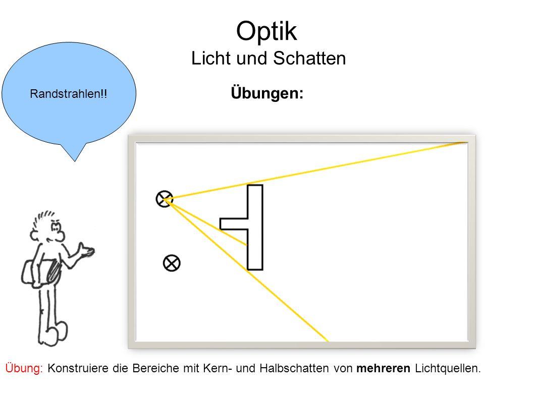 Optik Licht und Schatten Randstrahlen!! Übungen: Übung: Konstruiere die Bereiche mit Kern- und Halbschatten von mehreren Lichtquellen.