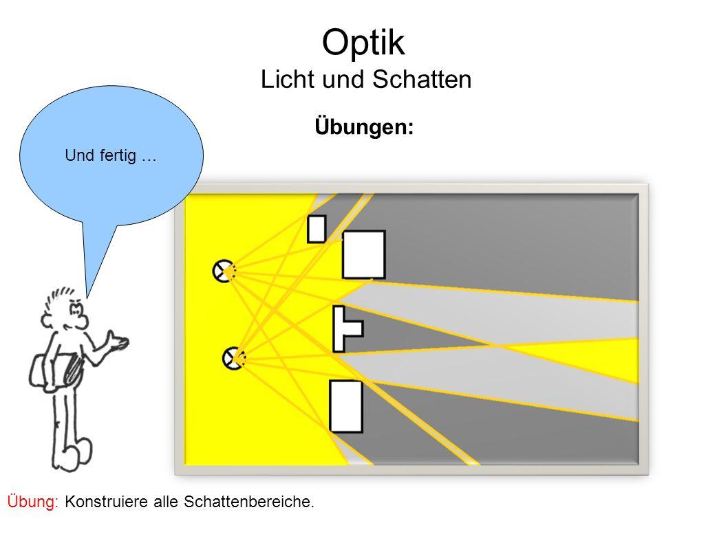 Optik Licht und Schatten Und fertig … Übungen: Übung: Konstruiere alle Schattenbereiche.