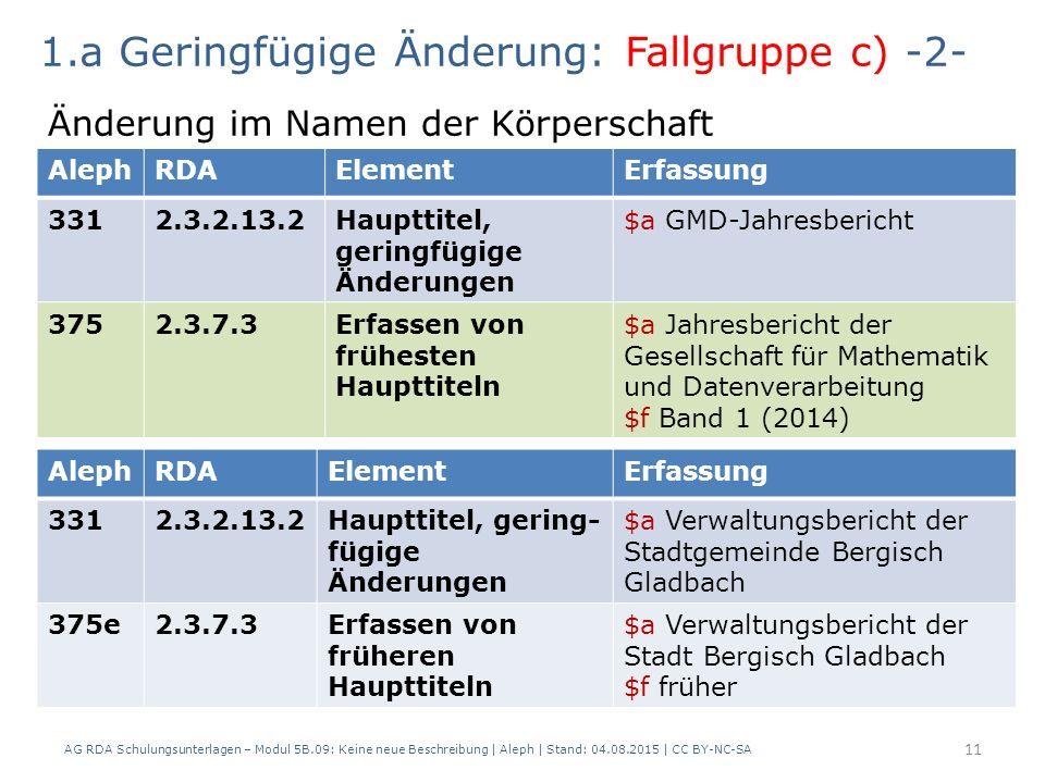 11 AlephRDAElementErfassung 3312.3.2.13.2Haupttitel, geringfügige Änderungen $a GMD-Jahresbericht 3752.3.7.3Erfassen von frühesten Haupttiteln $a Jahresbericht der Gesellschaft für Mathematik und Datenverarbeitung $f Band 1 (2014) 1.a Geringfügige Änderung: Fallgruppe c) -2- Änderung im Namen der Körperschaft AlephRDAElementErfassung 3312.3.2.13.2Haupttitel, gering- fügige Änderungen $a Verwaltungsbericht der Stadtgemeinde Bergisch Gladbach 375e2.3.7.3Erfassen von früheren Haupttiteln $a Verwaltungsbericht der Stadt Bergisch Gladbach $f früher