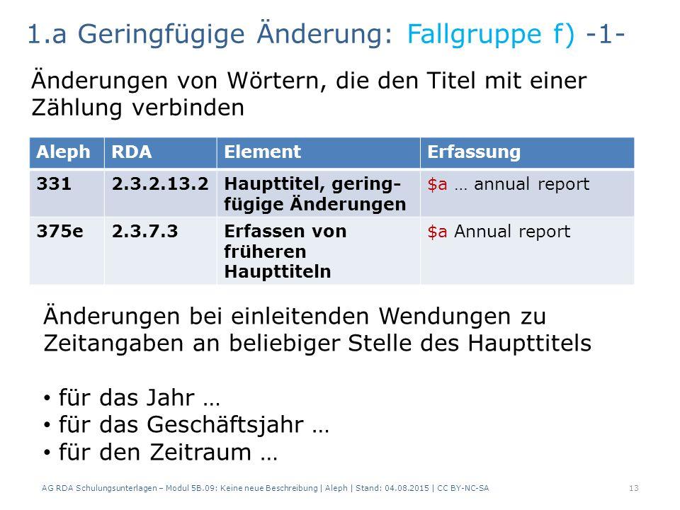 AG RDA Schulungsunterlagen – Modul 5B.09: Keine neue Beschreibung | Aleph | Stand: 04.08.2015 | CC BY-NC-SA13 AlephRDAElementErfassung 3312.3.2.13.2Haupttitel, gering- fügige Änderungen $a … annual report 375e2.3.7.3Erfassen von früheren Haupttiteln $a Annual report 1.a Geringfügige Änderung: Fallgruppe f) -1- Änderungen von Wörtern, die den Titel mit einer Zählung verbinden Änderungen bei einleitenden Wendungen zu Zeitangaben an beliebiger Stelle des Haupttitels für das Jahr … für das Geschäftsjahr … für den Zeitraum …