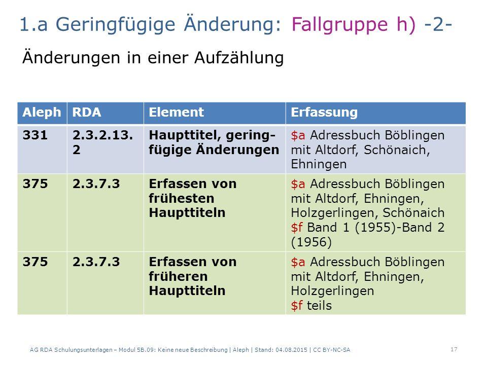 AG RDA Schulungsunterlagen – Modul 5B.09: Keine neue Beschreibung | Aleph | Stand: 04.08.2015 | CC BY-NC-SA 17 AlephRDAElementErfassung 3312.3.2.13.