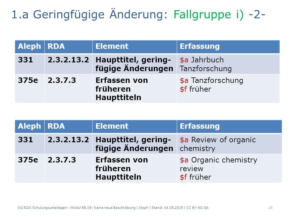 AG RDA Schulungsunterlagen – Modul 5B.09: Keine neue Beschreibung | Aleph | Stand: 04.08.2015 | CC BY-NC-SA19 AlephRDAElementErfassung 3312.3.2.13.2Haupttitel, gering- fügige Änderungen $a Jahrbuch Tanzforschung 375e2.3.7.3Erfassen von früheren Haupttiteln $a Tanzforschung $f früher 1.a Geringfügige Änderung: Fallgruppe i) -2- AlephRDAElementErfassung 3312.3.2.13.2Haupttitel, gering- fügige Änderungen $a Review of organic chemistry 375e2.3.7.3Erfassen von früheren Haupttiteln $a Organic chemistry review $f früher