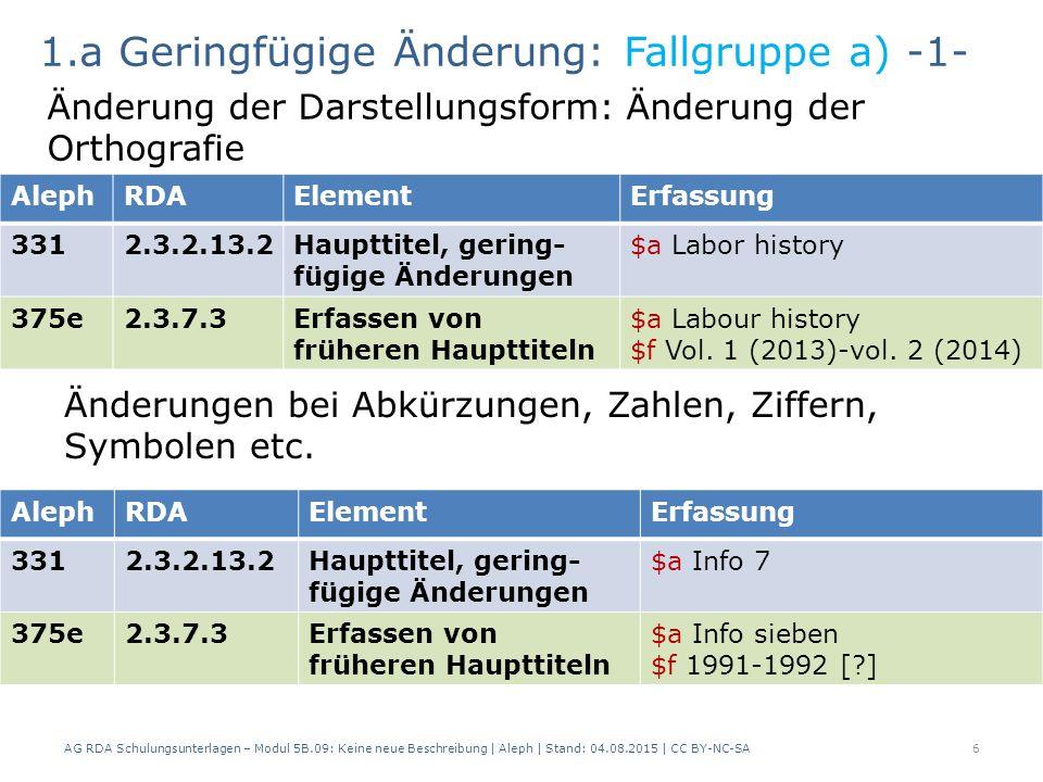 6 AlephRDAElementErfassung 3312.3.2.13.2Haupttitel, gering- fügige Änderungen $a Labor history 375e2.3.7.3Erfassen von früheren Haupttiteln $a Labour history $f Vol.