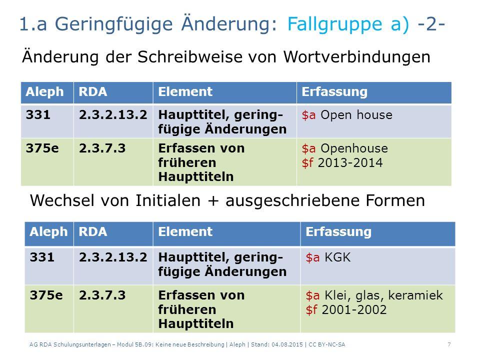 AG RDA Schulungsunterlagen – Modul 5B.09: Keine neue Beschreibung | Aleph | Stand: 04.08.2015 | CC BY-NC-SA7 AlephRDAElementErfassung 3312.3.2.13.2Haupttitel, gering- fügige Änderungen $a Open house 375e2.3.7.3Erfassen von früheren Haupttiteln $a Openhouse $f 2013-2014 1.a Geringfügige Änderung: Fallgruppe a) -2- Änderung der Schreibweise von Wortverbindungen Wechsel von Initialen + ausgeschriebene Formen AlephRDAElementErfassung 3312.3.2.13.2Haupttitel, gering- fügige Änderungen $a KGK 375e2.3.7.3Erfassen von früheren Haupttiteln $a Klei, glas, keramiek $f 2001-2002