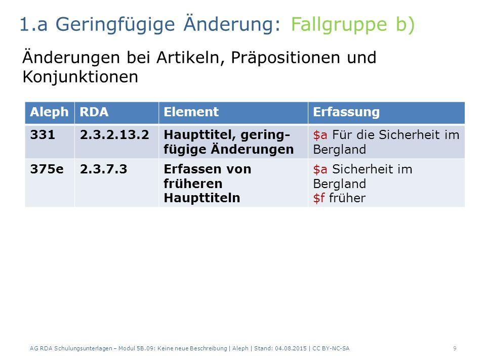 AG RDA Schulungsunterlagen – Modul 5B.09: Keine neue Beschreibung | Aleph | Stand: 04.08.2015 | CC BY-NC-SA9 AlephRDAElementErfassung 3312.3.2.13.2Haupttitel, gering- fügige Änderungen $a Für die Sicherheit im Bergland 375e2.3.7.3Erfassen von früheren Haupttiteln $a Sicherheit im Bergland $f früher 1.a Geringfügige Änderung: Fallgruppe b) Änderungen bei Artikeln, Präpositionen und Konjunktionen