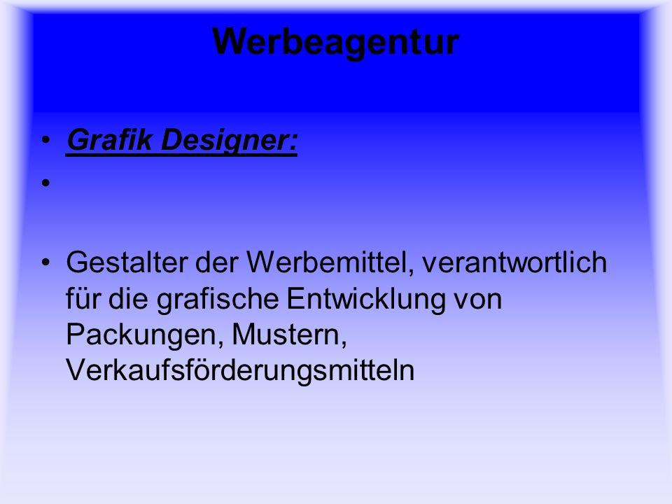 Werbeagentur Grafik Designer: Gestalter der Werbemittel, verantwortlich für die grafische Entwicklung von Packungen, Mustern, Verkaufsförderungsmitteln