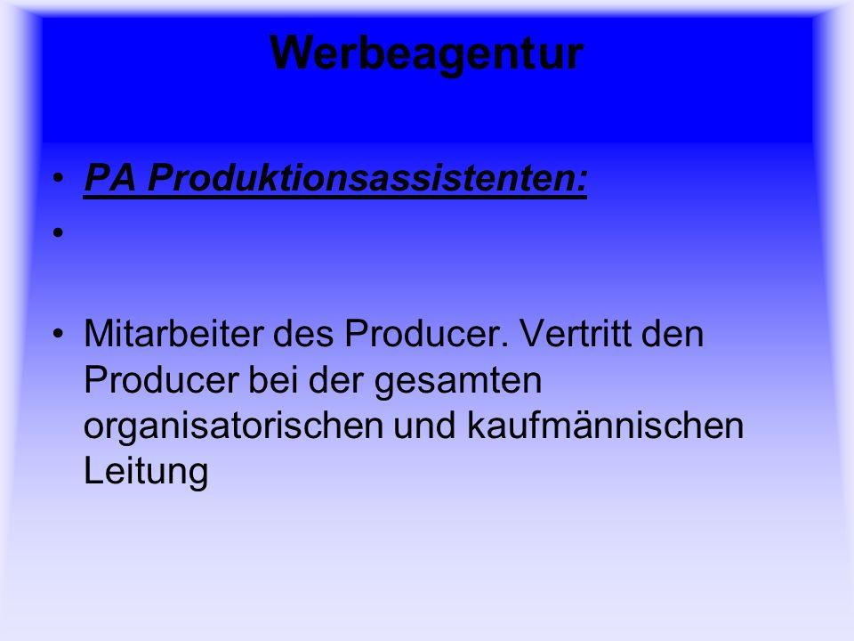 Werbeagentur PA Produktionsassistenten: Mitarbeiter des Producer.