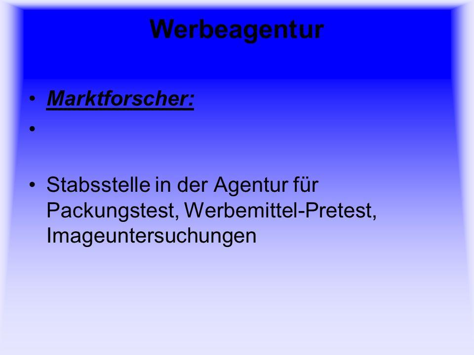 Werbeagentur Marktforscher: Stabsstelle in der Agentur für Packungstest, Werbemittel-Pretest, Imageuntersuchungen